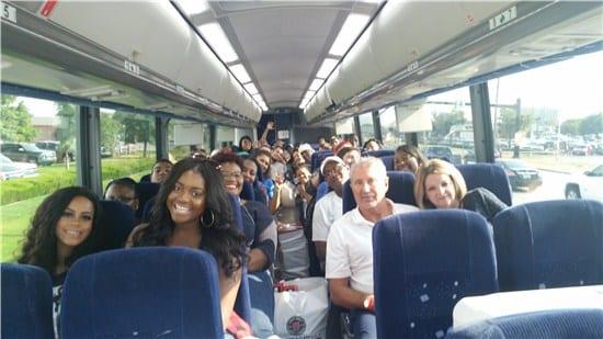 Fans en route to a Dallas Cowboys game through the NATB Gives Back program. Photos via natb.org/natb-32-for-32
