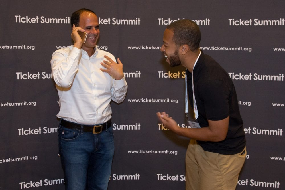 A fan meets Marcus Lemonis, host of CNBC's The Profit, the 2016 keynote speaker.