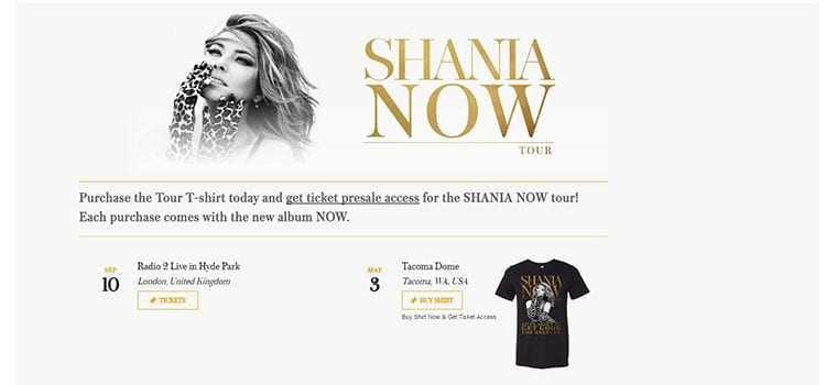 Shania Twain Tour Announced; Presale Linked to T-Shirt Purchase