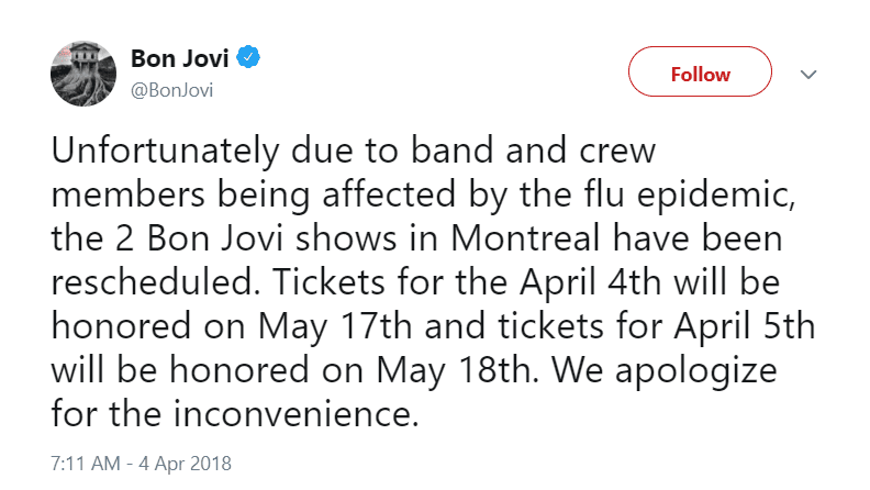 Bon Jovi's Montreal concerts cancelled due to illness