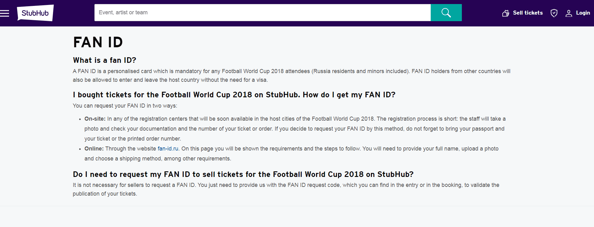 FIFA World Cup 2018 Ticket Resale