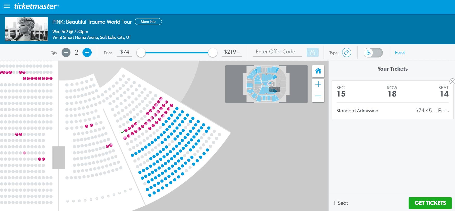Pink Tickets Bug