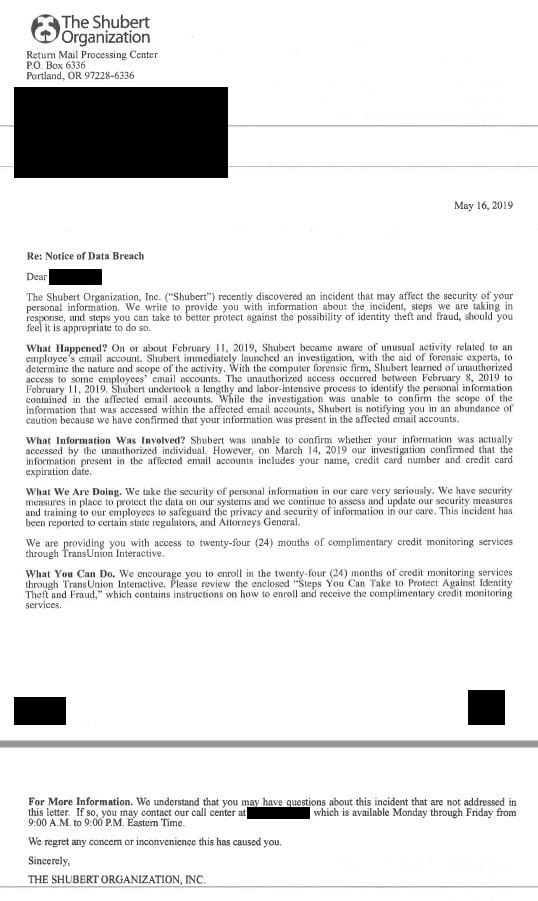 shubert organization letter