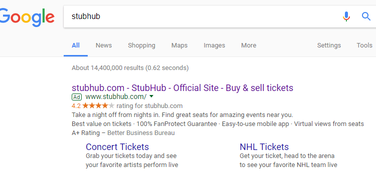 Pay-Per-Click Debate Catches StubHub in the Crossfire