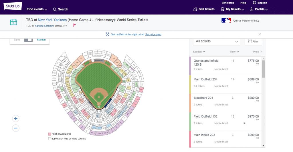 Speculative world series tickets